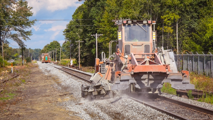 A pair of Norfolk Southern ballast regulators at work Plain Rd, Hatfield - September 18, 2014