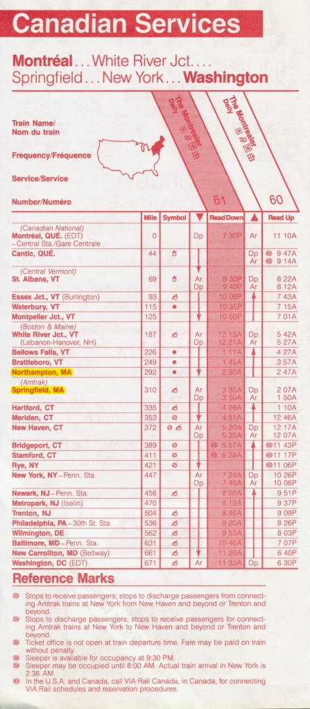 Amtrak Montrealer timetable - 1986-04-27