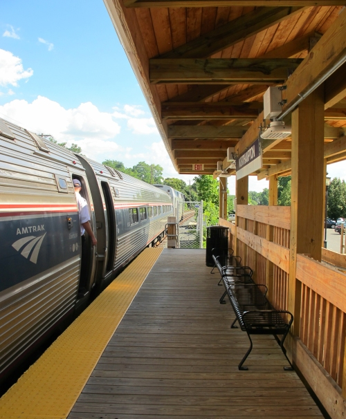 Amtrak Train 55 — now 42 minutes late — ready for departure Northampton, Mass. | August 19, 2015